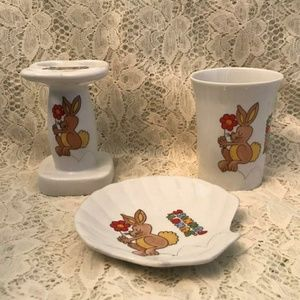 Vintage Children's Toothbrush Holder Cup Soap Dish